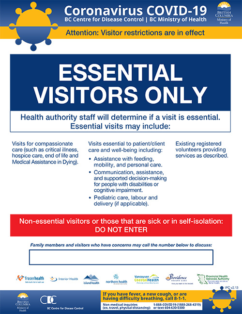 Visitor Guidelines March 22 2020 Fraser Health Authority